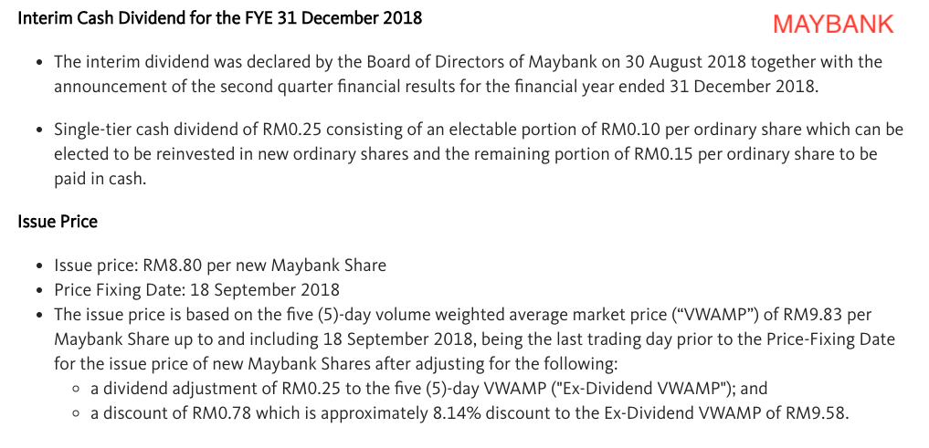 Maybank DRP Announcement